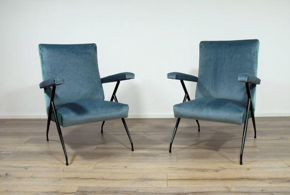 Mid Century Blue Velvet Armchairs, Set Of 2 1