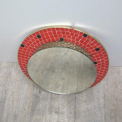 Deutscher Beleuchteter Mosaik Spiegel 1950er