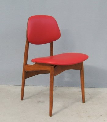 Italian Beech Leather Dining Chairs 1950s
