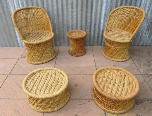 Spanisches Vintage Wohnzimmer Set aus Bambus, 1970er, 5er Set bei ...