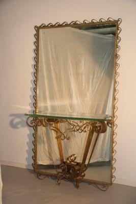 Consolle Crystal Art Mid-Century con specchio grande, Italia, anni ...