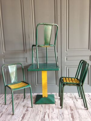 xavier pauchard french industrial dining room furniture metal industrial green dining set by xavier pauchard for tolix 1950s