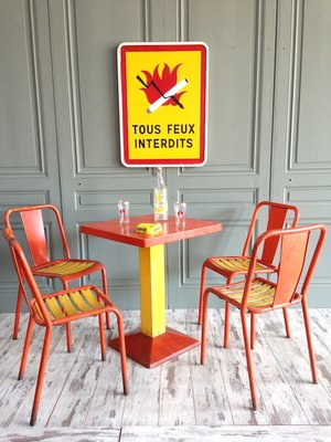 xavier pauchard french industrial dining room furniture. Industrial Orange \u0026 Yellow Dining Set By Xavier Pauchard For Tolix, French Room Furniture