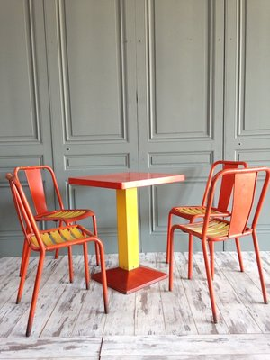 Orange Yellow Dining Set By Xavier Pauchard For Tolix