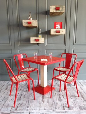 xavier pauchard french industrial dining room furniture. Industrial Red \u0026 White Dining Set By Xavier Pauchard For Tolix, French Room Furniture R