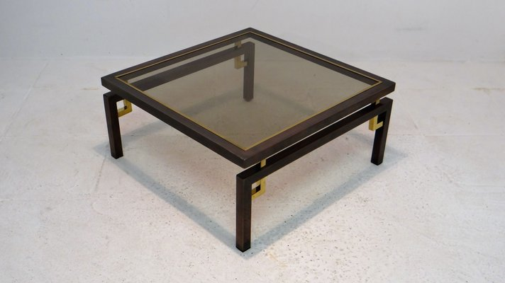Vintage Brushed Bronze Copper Coffee Table From Belgochrom For