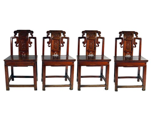 Antique Red Chinese Carved Wood Chairs, 1860s, Set of 4 1 - Antique Red Chinese Carved Wood Chairs, 1860s, Set Of 4 For Sale At