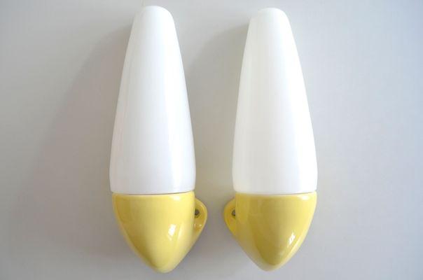 Keramik Wandlampen Von Sigvard Bernadotte Für IFÖ Schweden, 1950er, 2er Set  1