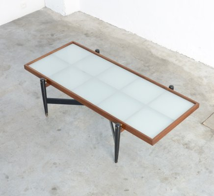 Exceptionnel Vintage Teak Coffee Table With Frosted Glass Top 1