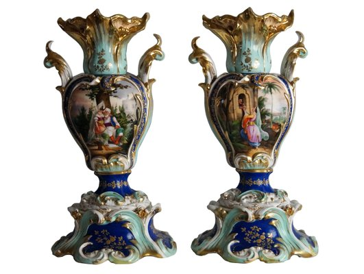 Antique Handpainted Vases 1850s Set