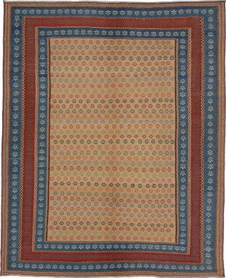 Red Embroidered Kilim Rug