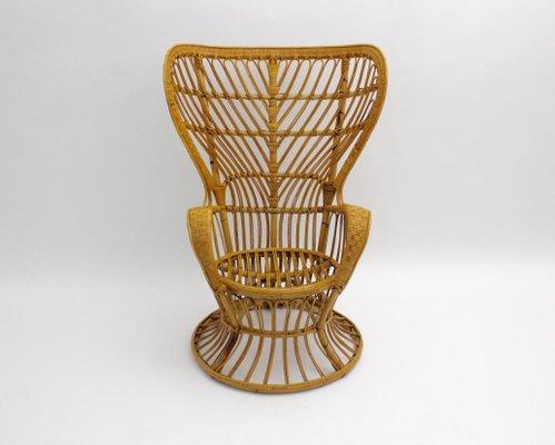 Italian Rattan Peacock Chair By Lio Carminati 1