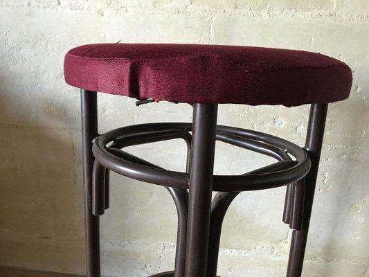 Terrific Vintage Velvet Seat Metal Stools 1960S Set Of 3 Inzonedesignstudio Interior Chair Design Inzonedesignstudiocom