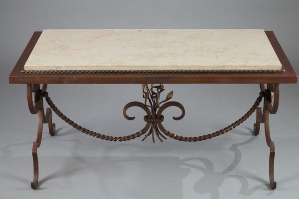 Gilded Wrought Iron Marble Coffee Table