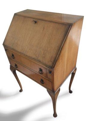 Vintage British Light Oak Leather Lined Writing Bureau Desk For Sale