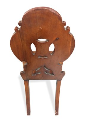 Antique English Victorian Mahogany Carved Hall Chair 4