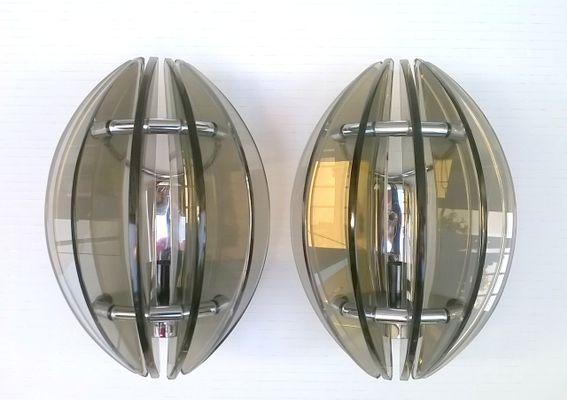 Applique da parete in vetro e acciaio cromato di veca italia anni