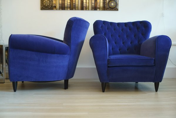 Velvet Blue Armchairs By Guglielmo Ulrich 1950s Set Of 2 For Sale