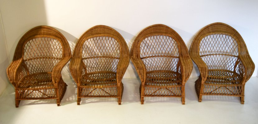 Rattan And Wicker Armchairs From Gervasoni, 1970, Set Of 4 1