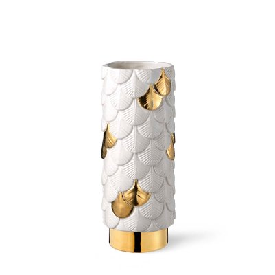 Plumage Hand Decorated White Gold Vase By Cristina Celestino For
