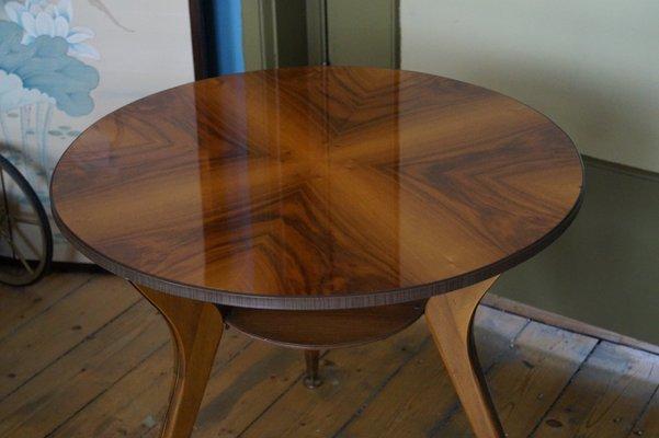 Italian Brass Wood Veneer Coffee Table 1950s