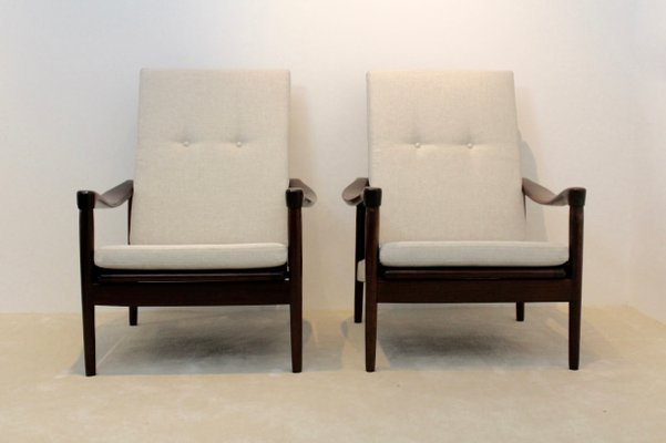 Mid Century Teak High Back Easy Chairs From De Ster Gelderland 1