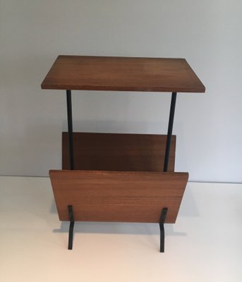 Vintage Side Table With Magazine Rack 1950s