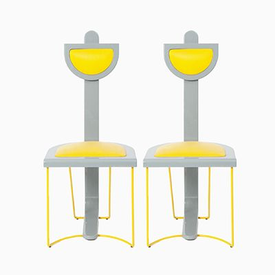 Grey And Yellow Chairs Set Of 2