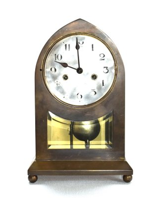 Large Vienna Secession Brass Table Clock 2