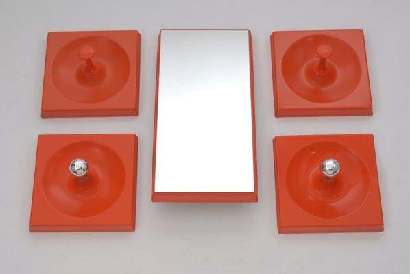 Orangenfarbenes Vintage Quadro Haken Lampen Spiegel Set Von
