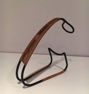 170965458a Rattan, Leather, and Metal Bottle Holder, 1960s for sale at Pamono