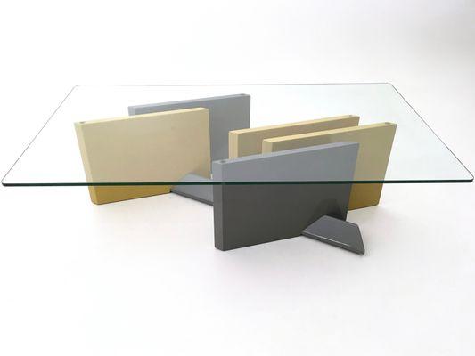 Tavolino da caffè in cristallo e legno laccato, anni \'80