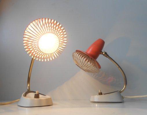 AjustablesSuisseSet Vintage Chevet Lampes Modernistes De 2 Rouges D2EHI9