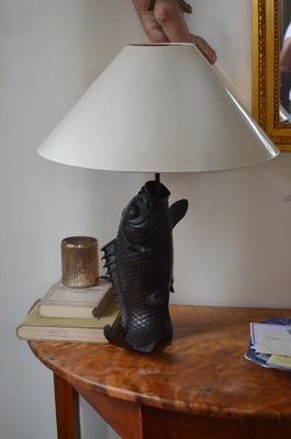 Vintage Bronze Fish Shaped Table Lamps, Set Of 2 2