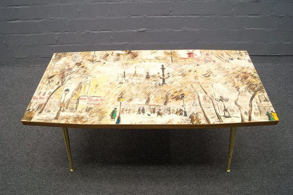 French Coffee Table With Painted Top 1950s