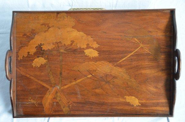 Vassoi In Legno Con Vetro : Vassoio in legno intagliato di gallè in vendita su pamono