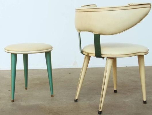 Sedia e sgabello mid century di umberto mascagni italia in vendita