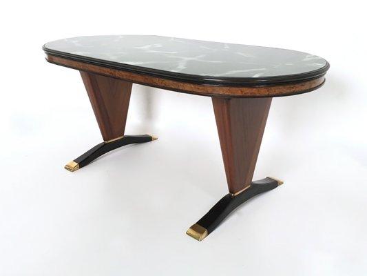 Tavolo in mogano con ripiano in vetro dipinto di nero, anni \'50 in ...