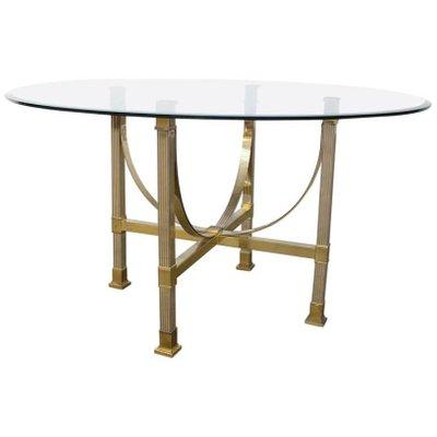 Tavolo da pranzo in ottone e vetro di Maison Jansen in vendita su Pamono