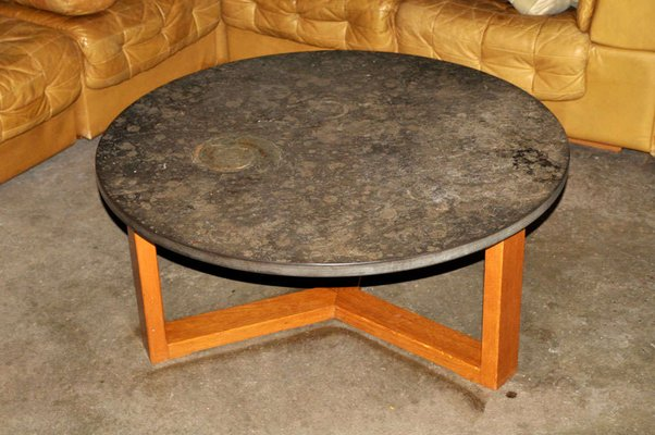 Mid Century Brazilian Limestone Coffee Table With Fossils 2