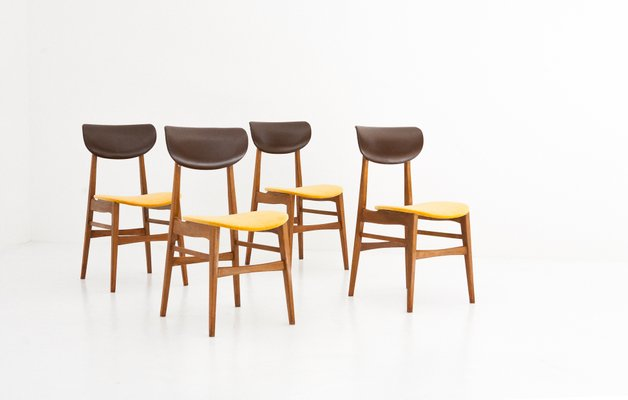Schwedische Mid Century Stühle Aus Skai U0026 Samt, 1950er, 4er Set 1