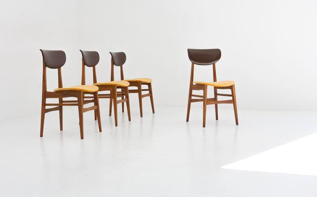 Schwedische Mid Century Stühle Aus Skai U0026 Samt, 1950er, 4er Set 2