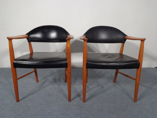 Sedie Vintage Pelle : Sedie vintage in pelle e teak danimarca set di in vendita su