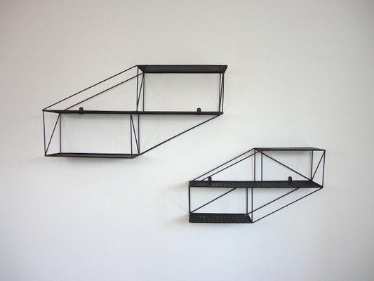 Mensole In Metallo.Mensole Architettoniche In Metallo Perforato Francia Anni 50 Set Di 2