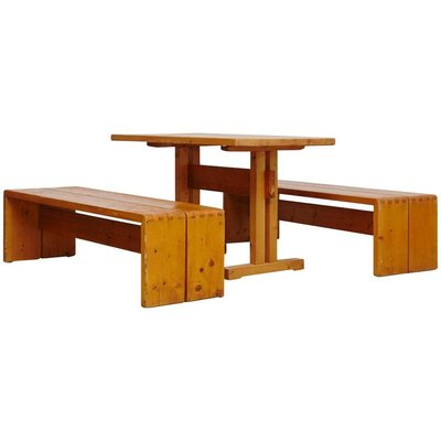 Pine Dining Set By Charlotte Perriand For Les Arcs, 1960s 1