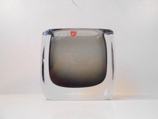 Cubic Smoke Grey Swedish Sommerso Glass Vase By Nils Landberg For
