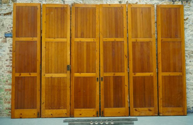 Vintage Architectural Oregon Pine Room Divider Bi Folding Doors for
