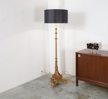 Vintage gold plated wooden floor lamp for sale at pamono vintage gold plated wooden floor lamp 1 aloadofball Choice Image