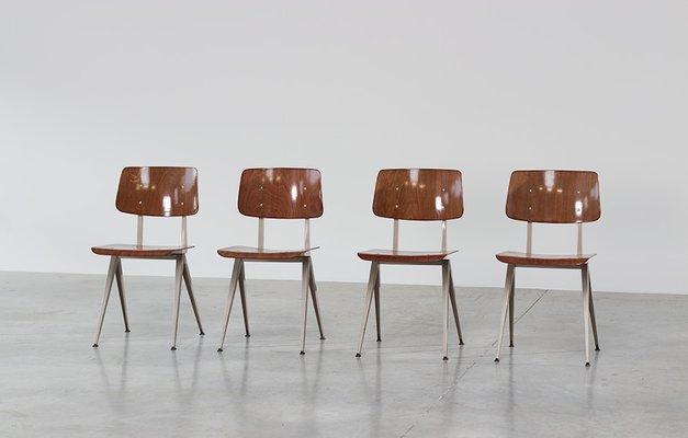 Sedie a compasso vintage industriali con sedute in compensato, set di 4