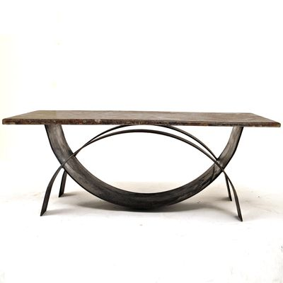 Modernist Coffee Table With Fossil Stone Top 1980s 1